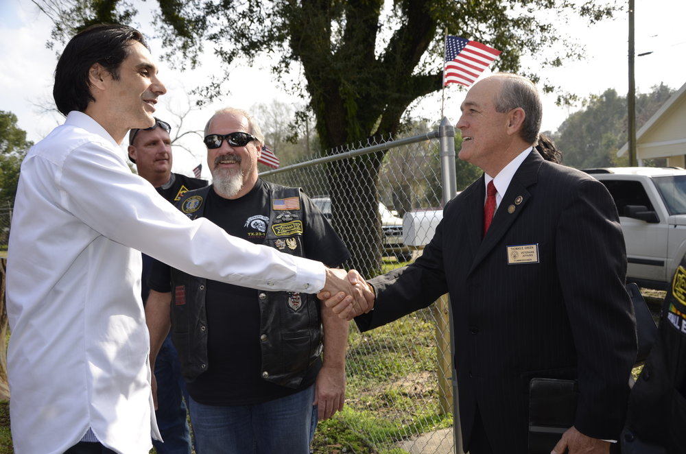 Victor (YAO co-founder) meets the Veterans Affairs Commissioner sent by the Governor of Louisiana to YAO.