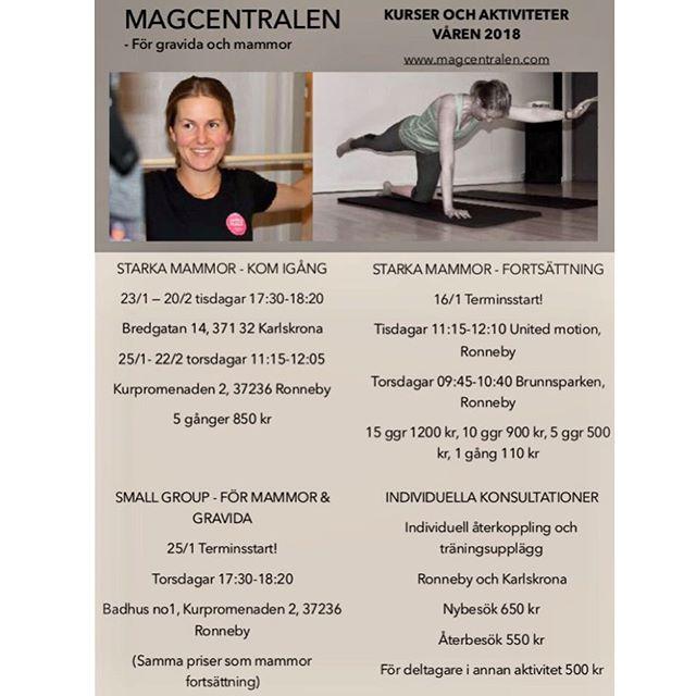 Nytt år, nya möjligheter. ✨Vårens kurser och aktiviteter för mammor och gravida är här. ✨ Missa inte att anmäla dig redan idag! www.magcentralen.com