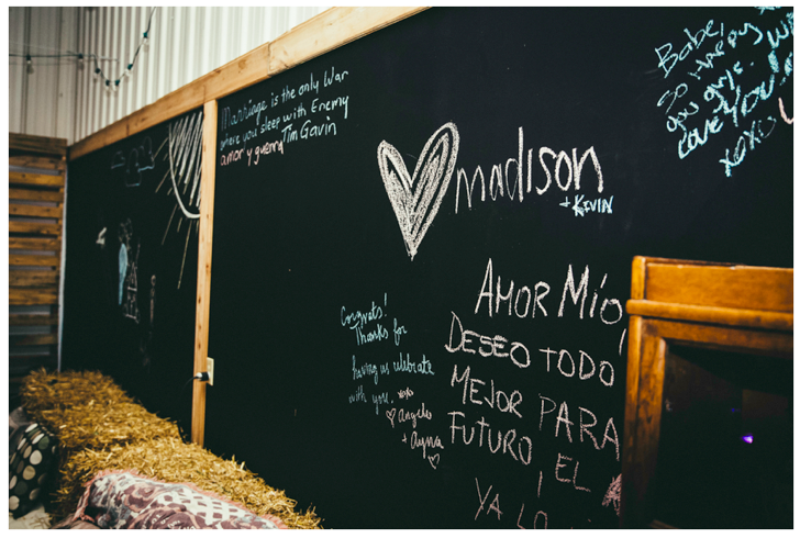 Guest book chalk walls in the garage <3