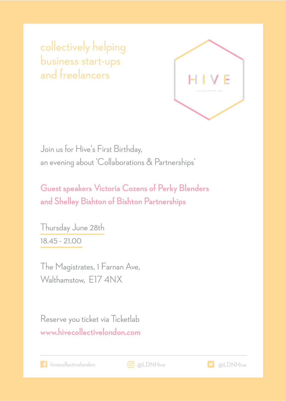 June 28th 2018: Hive's first birthday, an evening about 'Collaborations & Partnerships'   Join us for an evening of networking and raise a toast for Hive Collective's first birthday.  Plus find out about partnerships and collaborations from owner of  Perky Blenders  Victoria Cozens, and gain marketing insights from Shelley Bishton of Bishton Partnerships. Book  here .