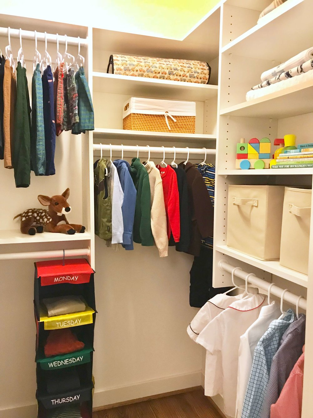 A child's closet should be simple and organized.