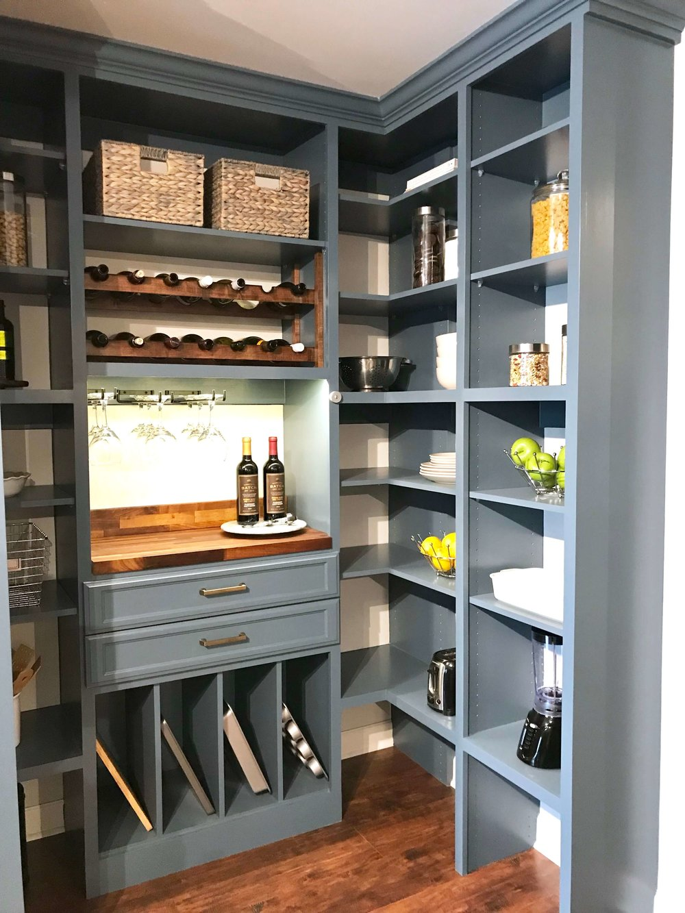 We staged this custom pantry for the showroom of a local custom closet company in Nashville.