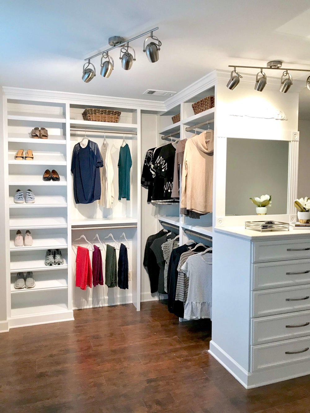 A staged custom closet company showroom.