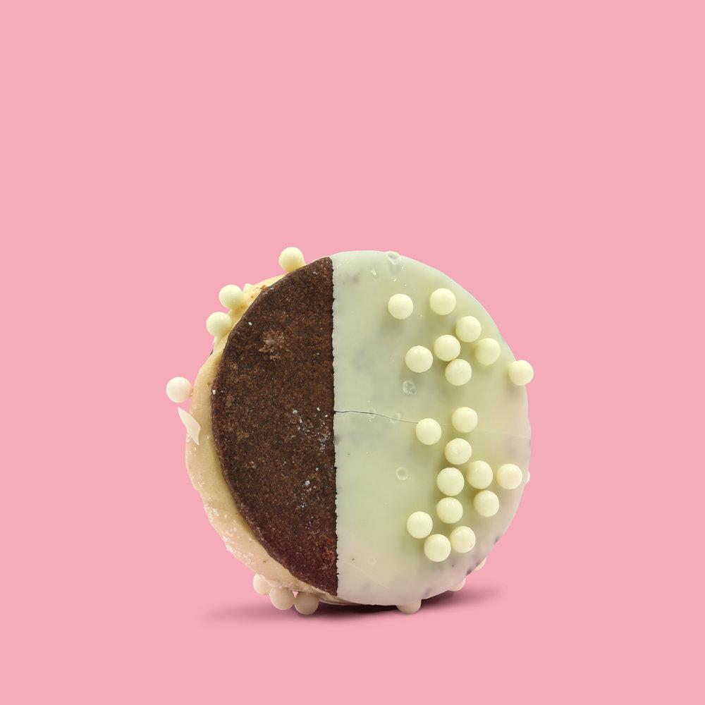 MOCHA SANDO   Coffee ice cream • Chocolate shortbread • White chocolate dip • White chocolate pearls