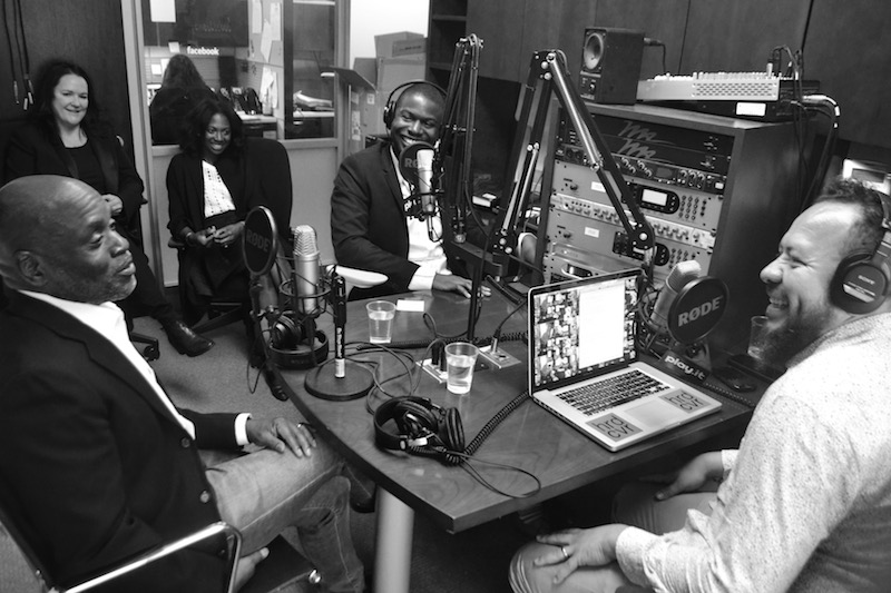 L.A. Reid (far right) sitting with Rap Radar hosts B.Dot (middle) and Elliott Wilson (far right)