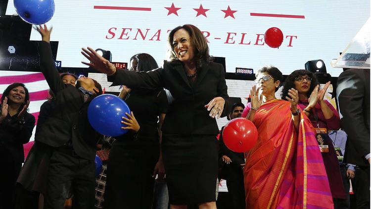 Harris celebrates her win in Downtown Los Angeles. Photo available via LA Times.