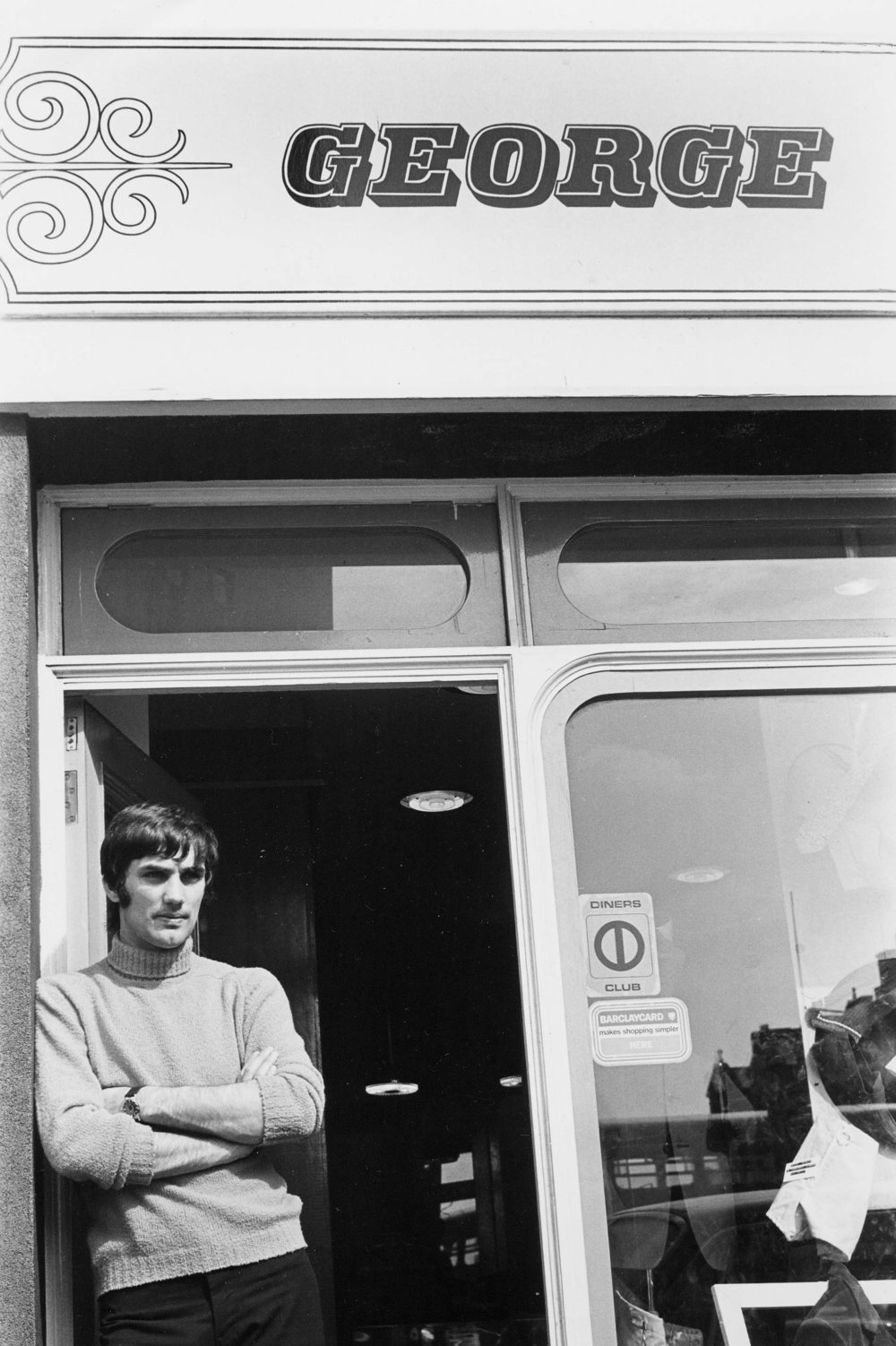 George Best outside his menswear boutique (1968)