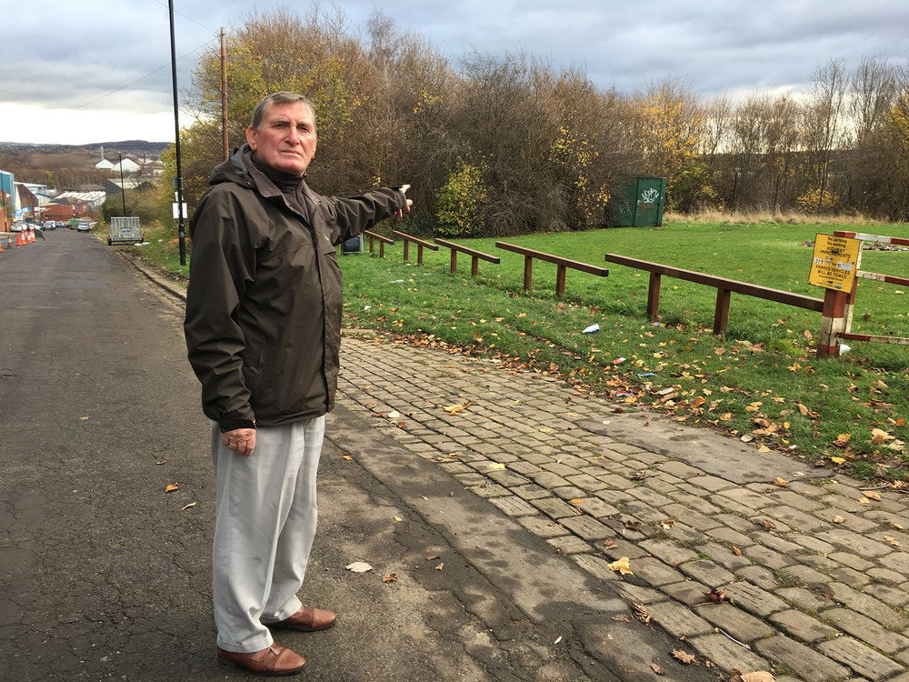 This is David standing on what I presume is the land where our old house used to be. No 54 Lyons St, Pitsmoor, Sheffield.