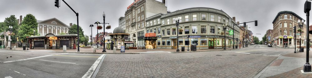 This high def pano of Harvard Square was 150 shots combined to make one photograph.