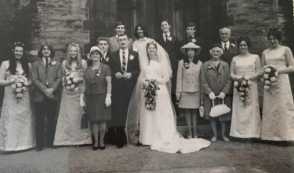 My Brother David's wedding to Carol Ward circa 1967    left to right: Glynn Wards girlfriend (no name), Myself- Alan, Gloria (Philp Wards wife to be) My mum, behind her is brother Pete (now deceased God Bless Him), behind Pete is Glynn Ward, to Glynn Ward's right is his brother Philip, to Philip's right is my brother Stephen,then brother John, then Mr Ward, the bride's father. To the right of the bride is the bride's mother Mrs Ward, to her right no idea, to the right of no idea is Anita Ward, and finally Lynn , Anitas friend.