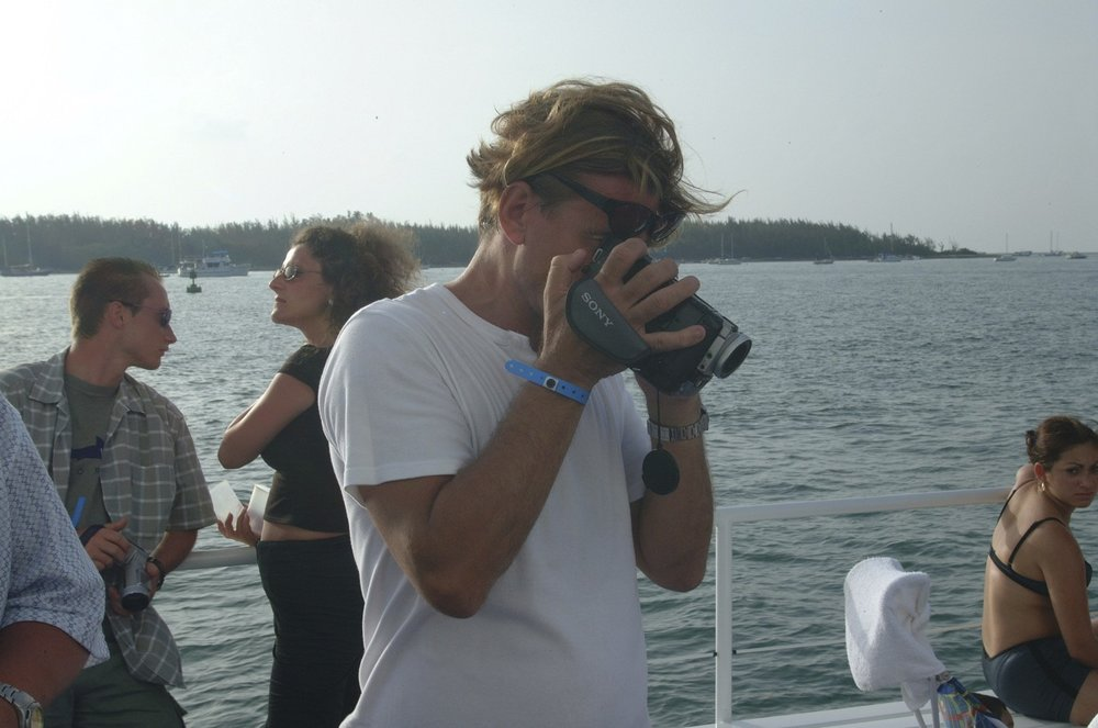 Key West was the most common destination for us to party. Here we took a cruise around the Keys- brother Jon filming.