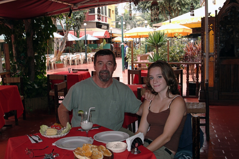 Elizabeth and I at a restaurant in Miraflores,Lima-- Ceviche was the best I ever had.