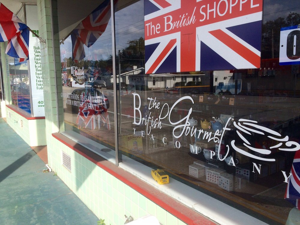 On Mills Ave in Orlando there is a British Shop.You can get all sorts of things British including gourmet teas, pies, sausage rolls, sweets and candies, cups and mugs and plates, flags etc.     Click here for the website.