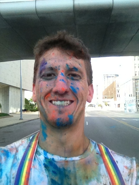 After the 5K Color Run in downtown Toledo, OH.