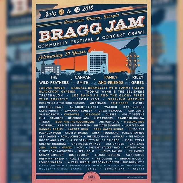 Headed to South Africa this week, but super excited to play this after we get back! Here is the full Bragg Jam lineup.
