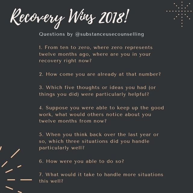 Gratitude lists are awesome, but so is taking a good look back at what you've already been doing that works! Check out this list of seven questions you can ask yourself to celebrate this year's recovery wins:  1. From ten to zero, where zero represents twelve months ago, where are you in your recovery right now? 2. How come you are already at that number?  3. Which five thoughts or ideas you had or things you did were particularly helpful?  4. Suppose you were able to keep up the good work, what would other notice about you twelve months from now? 5. When you think back over the last year or so, which three situations did you handle particularly well? 6. How were you able to do so? 7. What would it take to handle more situations this well?  Let me know in the comments what has worked best for you this year! :)