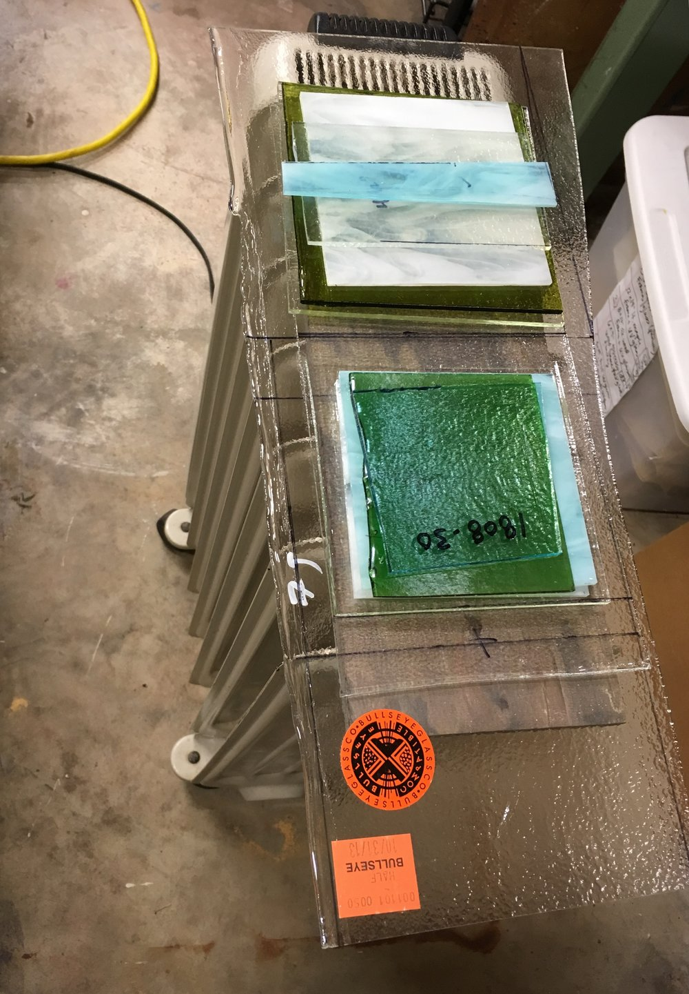 Glass doesn't love to be cold when you're working with it — especially when cutting circles. This is when I may heat it up before cutting it — like here.