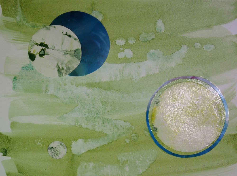 Detail on another finished painting/collage with acrylic & paper… and a little vinyl too.