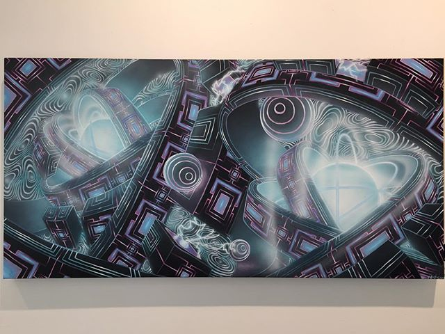 """""""Homunculus"""" _24x48"""" _Acrylic and Airbrush on Canvas __This piece will be on display today only at @hideawayshops Apple Valley. ________________ #contemporaryfuturism #scifiart #futuristic #visionaryart #psychedelicart #abstractart #contemporaryart #acrylic #painting #airbrush #minneapolis #supportlocal #minneapolisart #artistsoninstagram"""