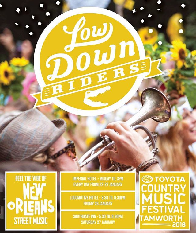Looking for something not so country at @tcmf_official ? Come try a taste of New Orleans Street music. Imperial Hotel every day from 12 - 3pm.
