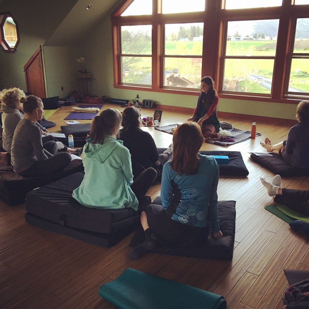 Kavita & students at Trout Lake Abbey