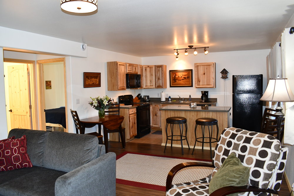 Walk through the entry way to be greeted by your brand new, fully furnished, two bedroom, one bathroom suite.