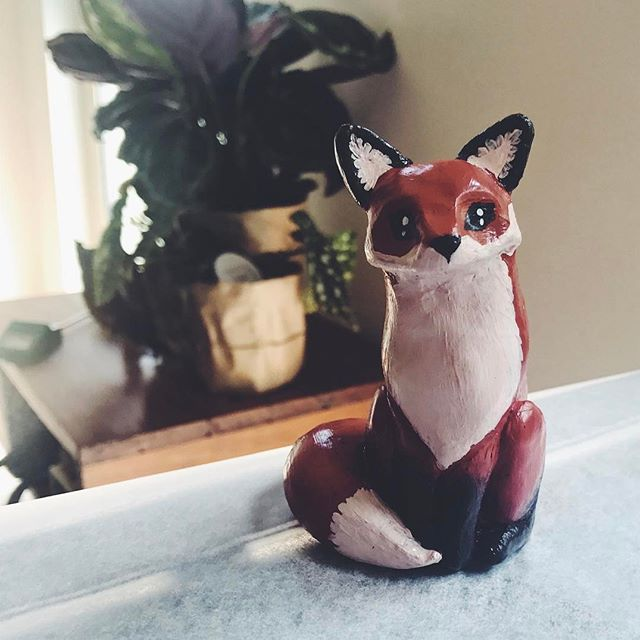 Fox. Molded with Sculpy Clay. Painted with acrylic.