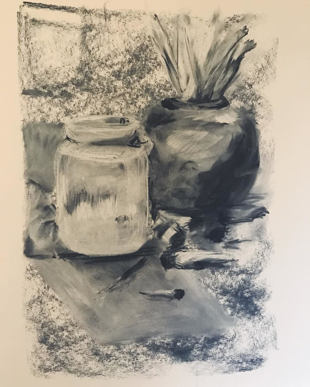 Art exercise: 20 minute still life. Charcoal on suede paper.