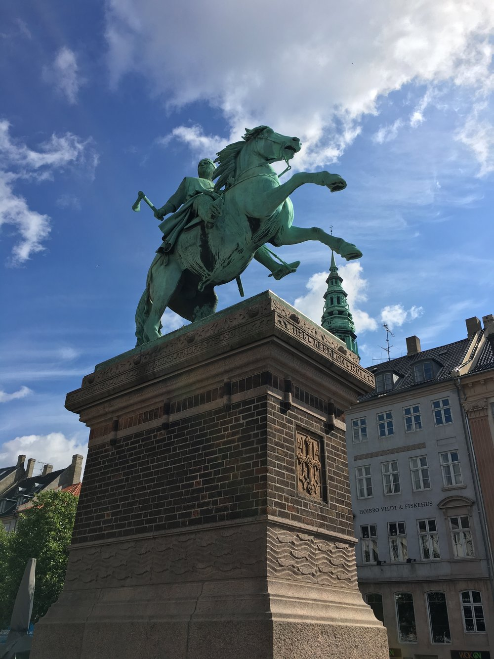 The Absalon Statue on Højbro Plads, central Copenhagen.
