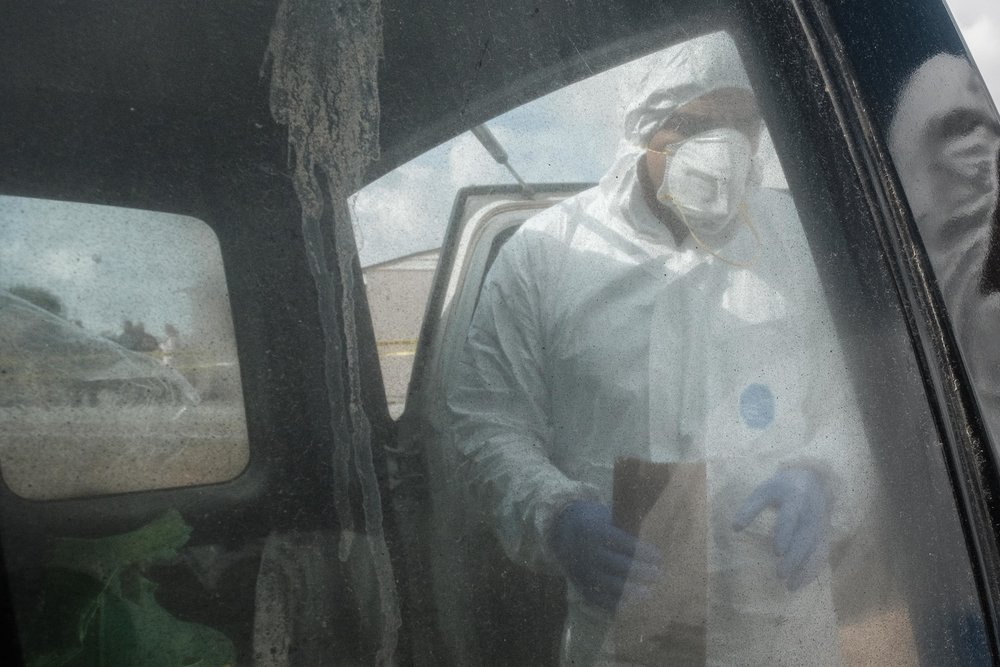Crime scene examination requires personal protective equipment to be worn in order not to contaminate the scene and evidence. See below for more photos.