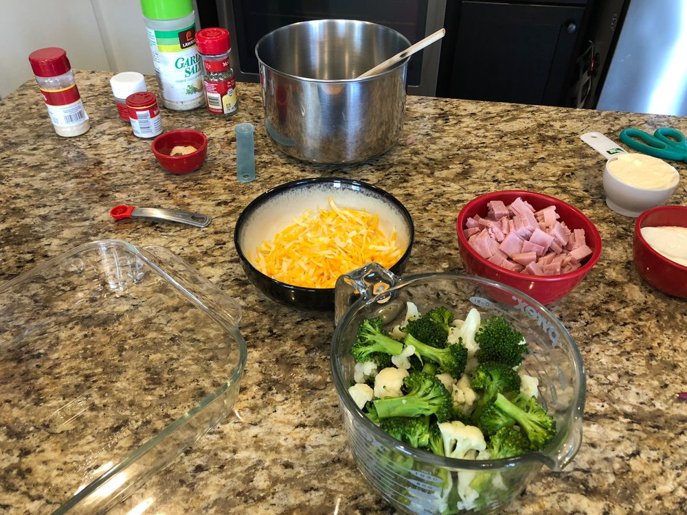 Keto Ham, Cheese and Broccoli Casserole Ingredients