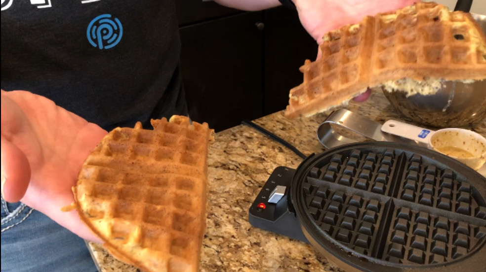 Keto waffles butter cinnamon sugar