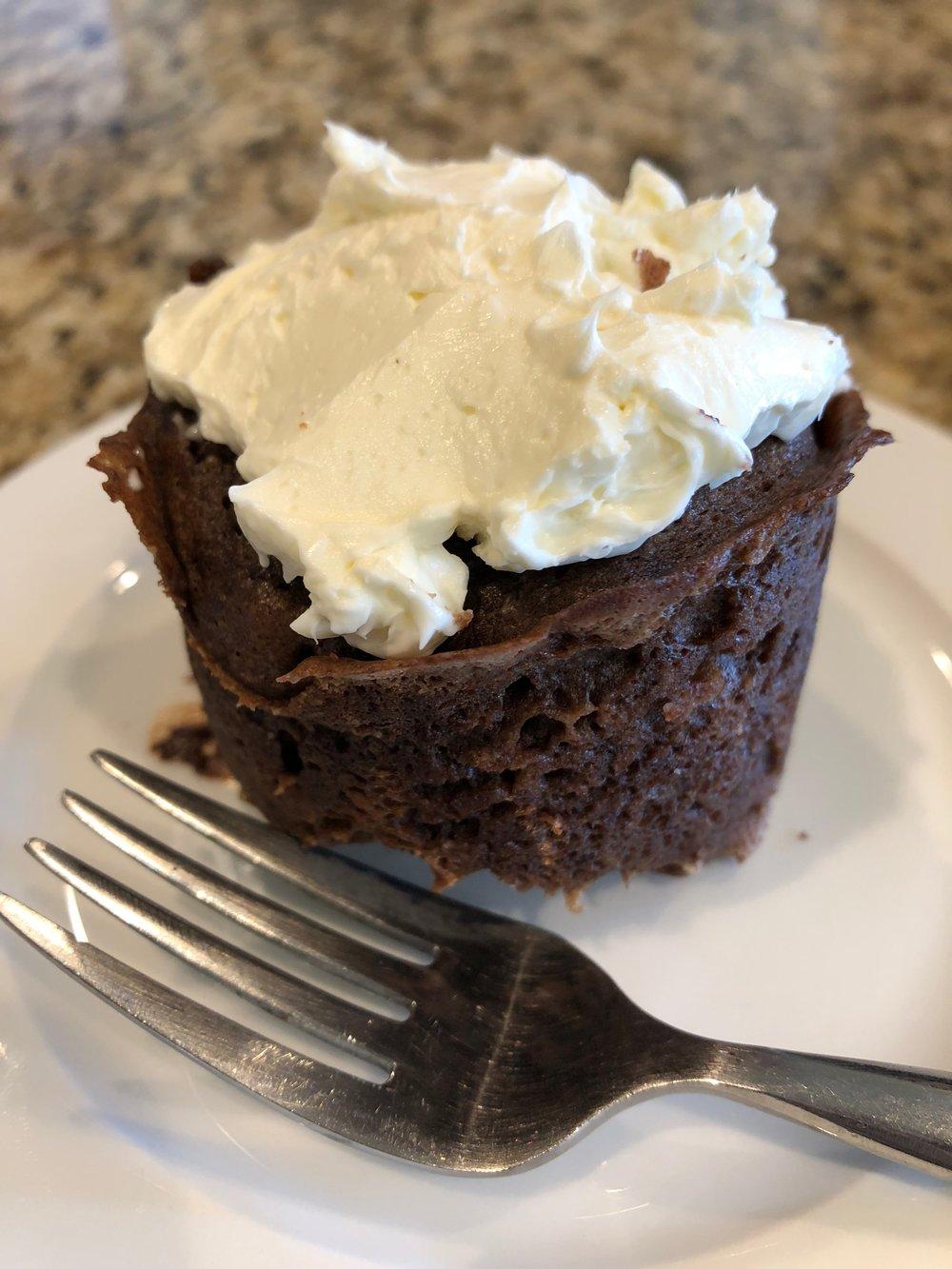 Keto 90 second double chocolate cupcake dessert recipe