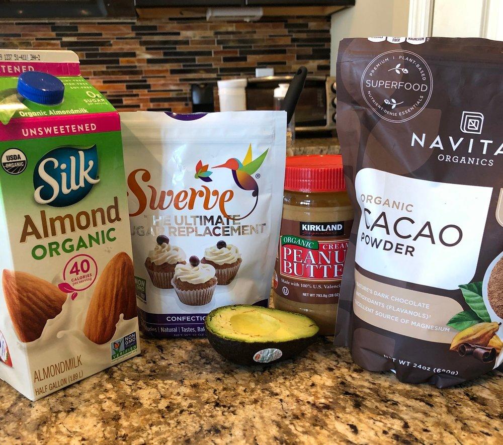Keto peanut butter chocolate shake with almond milk, cacao powder, swerve