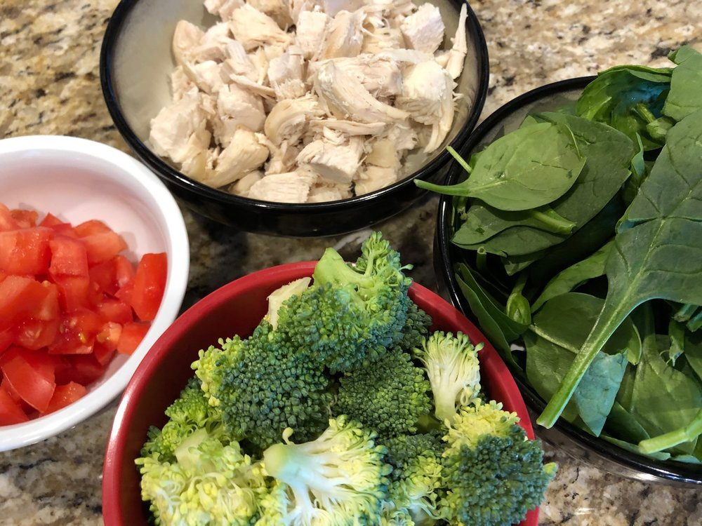Spinach Broccoli Tomatoes and Chicken Easy Keto Dinner