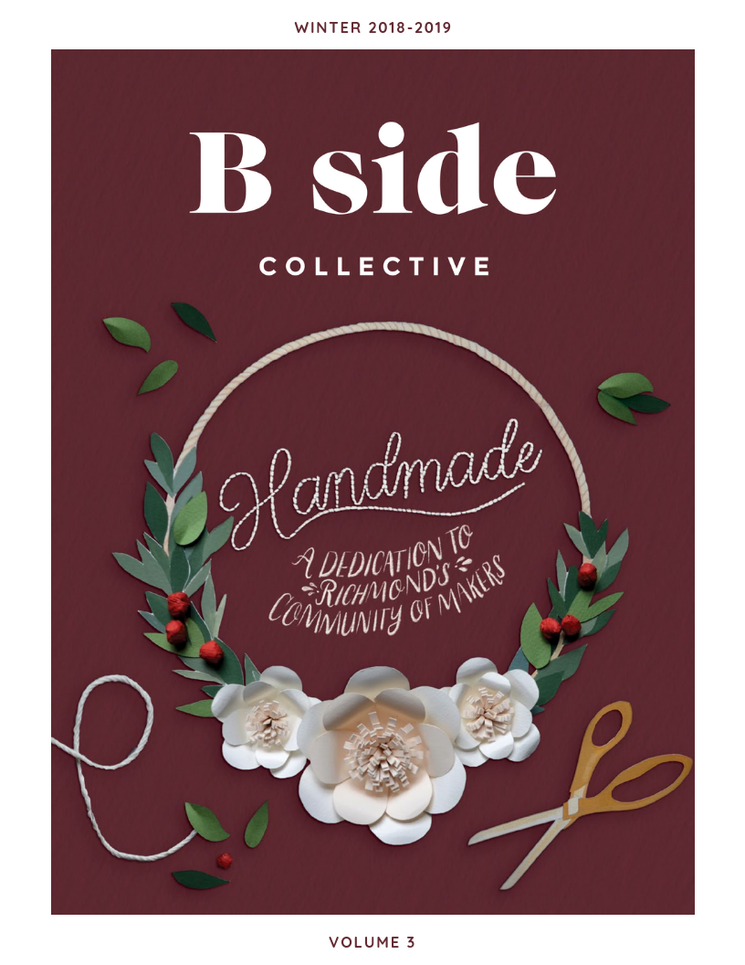 Image of leaves with twine with B SIDE Collective logo.