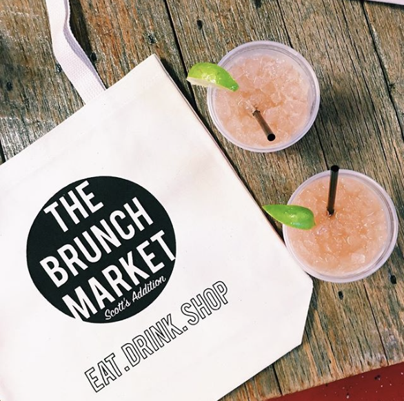Image of The Brunch Market canvas tote with two pink drinks.