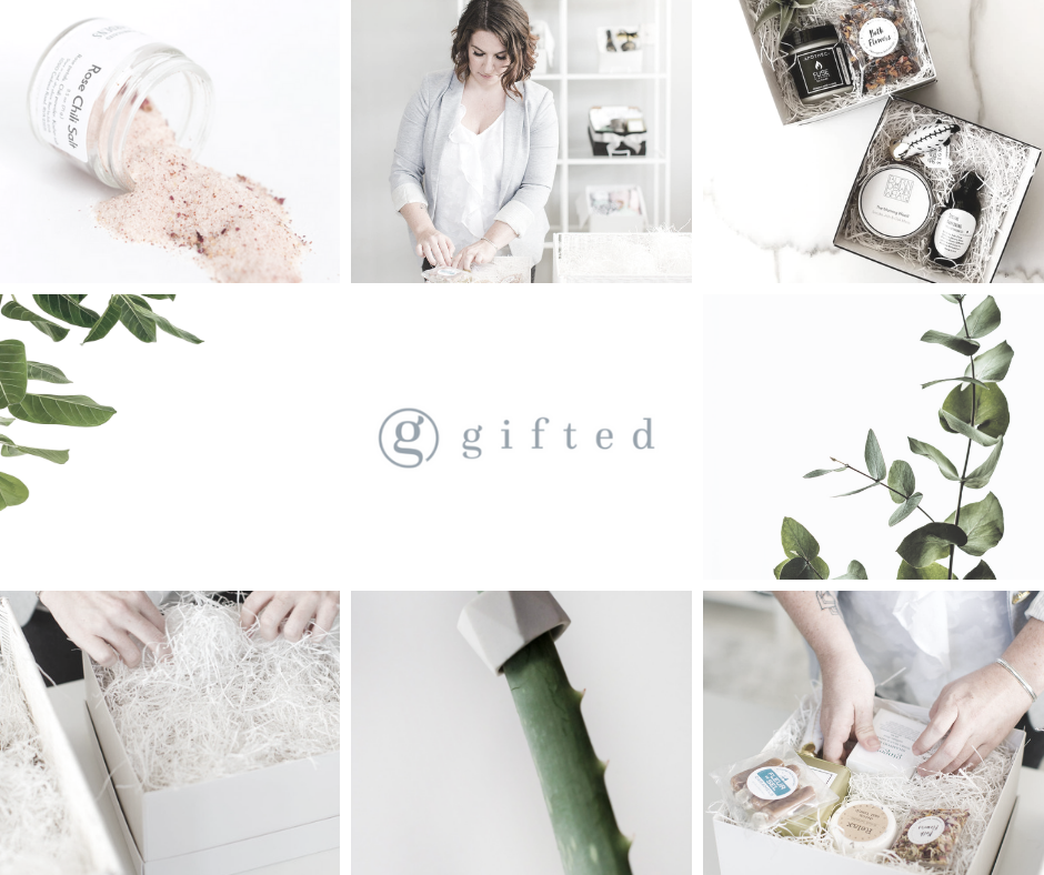 Six images of Noelle Parent of Gifted which include well-curated gift boxes of local maker items in sleek packaging.