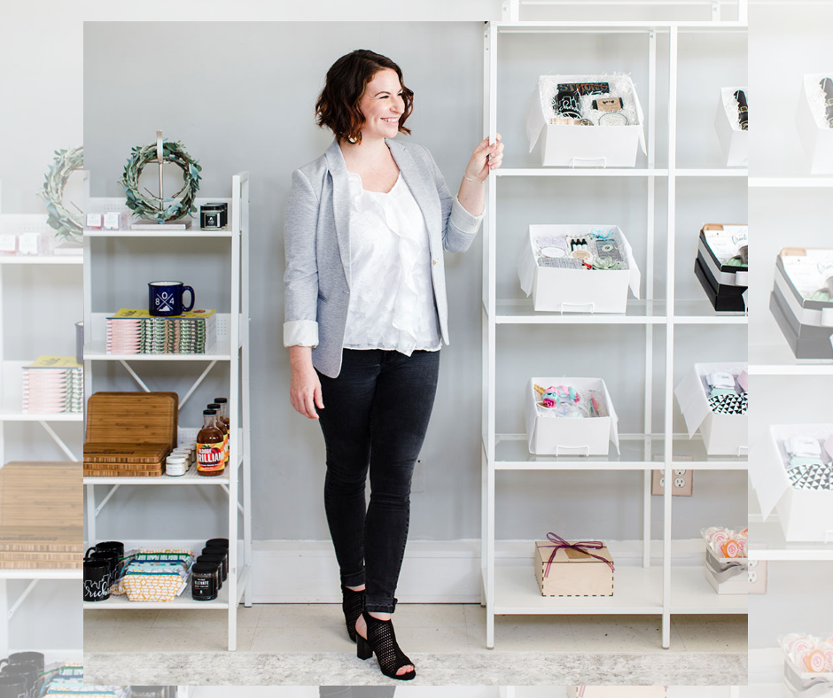 Images of business owner Noelle Parent in her Churchill, Virginia shop, Gifted. She is featured next to sleek shelving of her well-curated maker boxes.