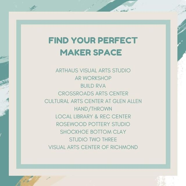 Is your resolution to be more creative? Perhaps you want to make experiences versus buy things? Whether you looking to screen print, throw some clay, or learn your way around a lens, we have some top maker space suggestions in greater Richmond. More recommendations? Give it a shoutout.