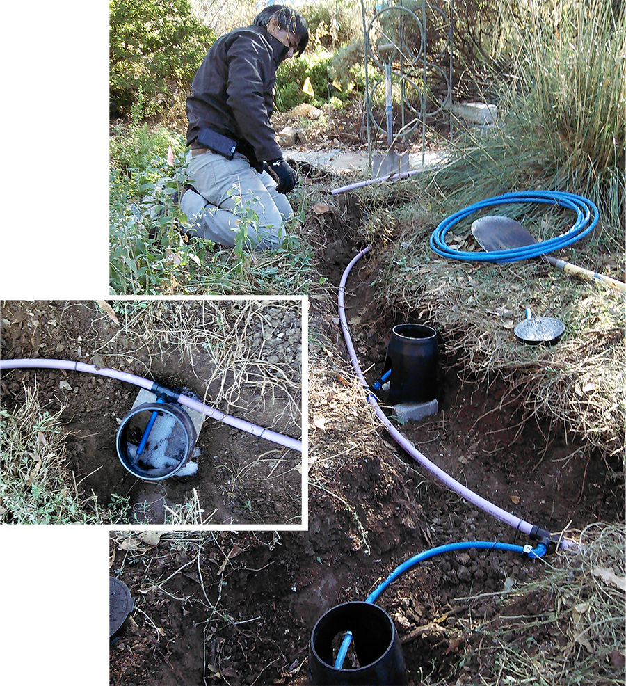 Left: An outlet in the landscape with the first laundry rinse water exiting the newly installed system. Right: APLD Sacramento District President Martin Carrion van Rijn in the trenches with greywater distribution pipes.  Photos: Leslie Crenna