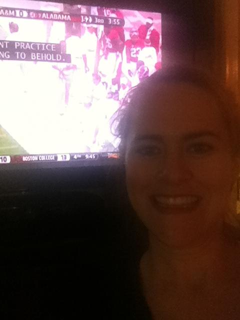 Emily watching the ATM versus Alabama fame