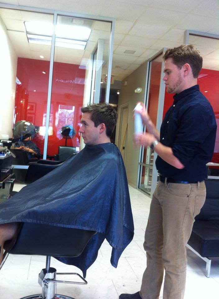 Todd cuts Jarrod's hair.