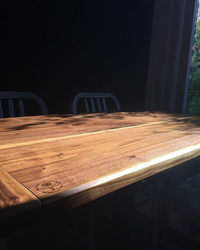 Some pretty raking light going on at this install! @biscuitlovebrunch #motherswoodshop #woodworking #nashville #nashvillemakers #interiordesign #make #custom #design #furniture #biscuitlove #woodwork #table