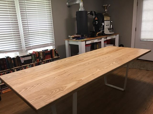 #tbt to a table we did last year for our friends at @1910roastingco! Ash with a white steel frame  #motherswoodshop #woodworking #nashville #nashvillemakers #interiordesign #make #custom #design #furniture #modern #modernfurniture