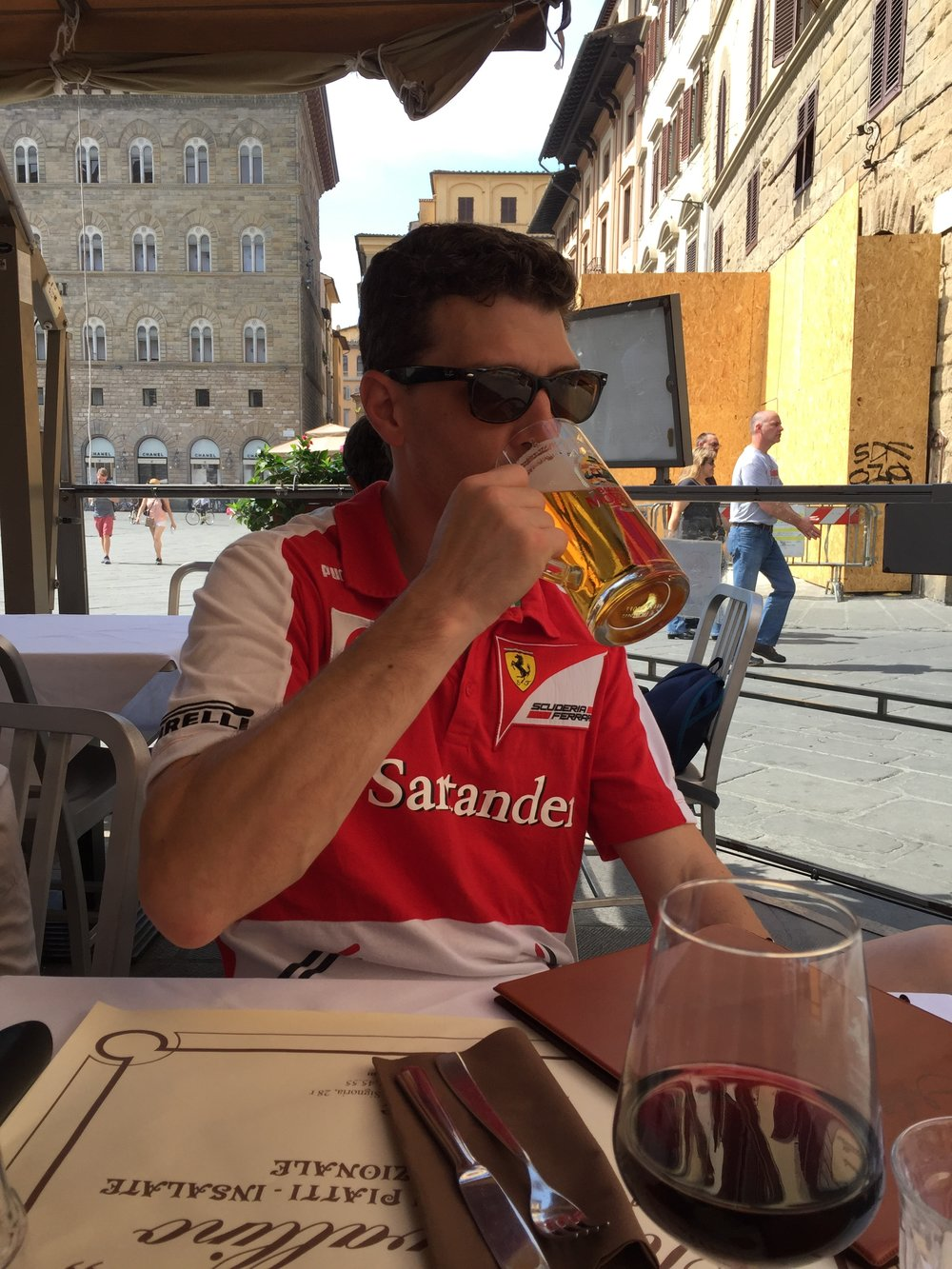 Josh in Florence enjoying a beverage while watching his favorite Formula One team during the 2016 Italian GP.