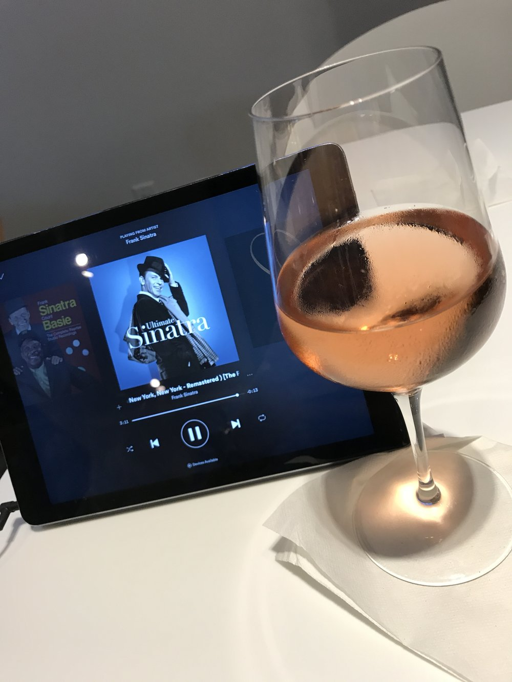 A glass of Rosé and some Frank