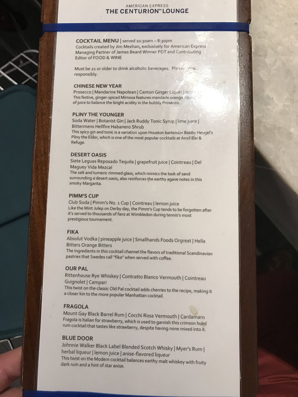 Centurion Lounge Bar Menu
