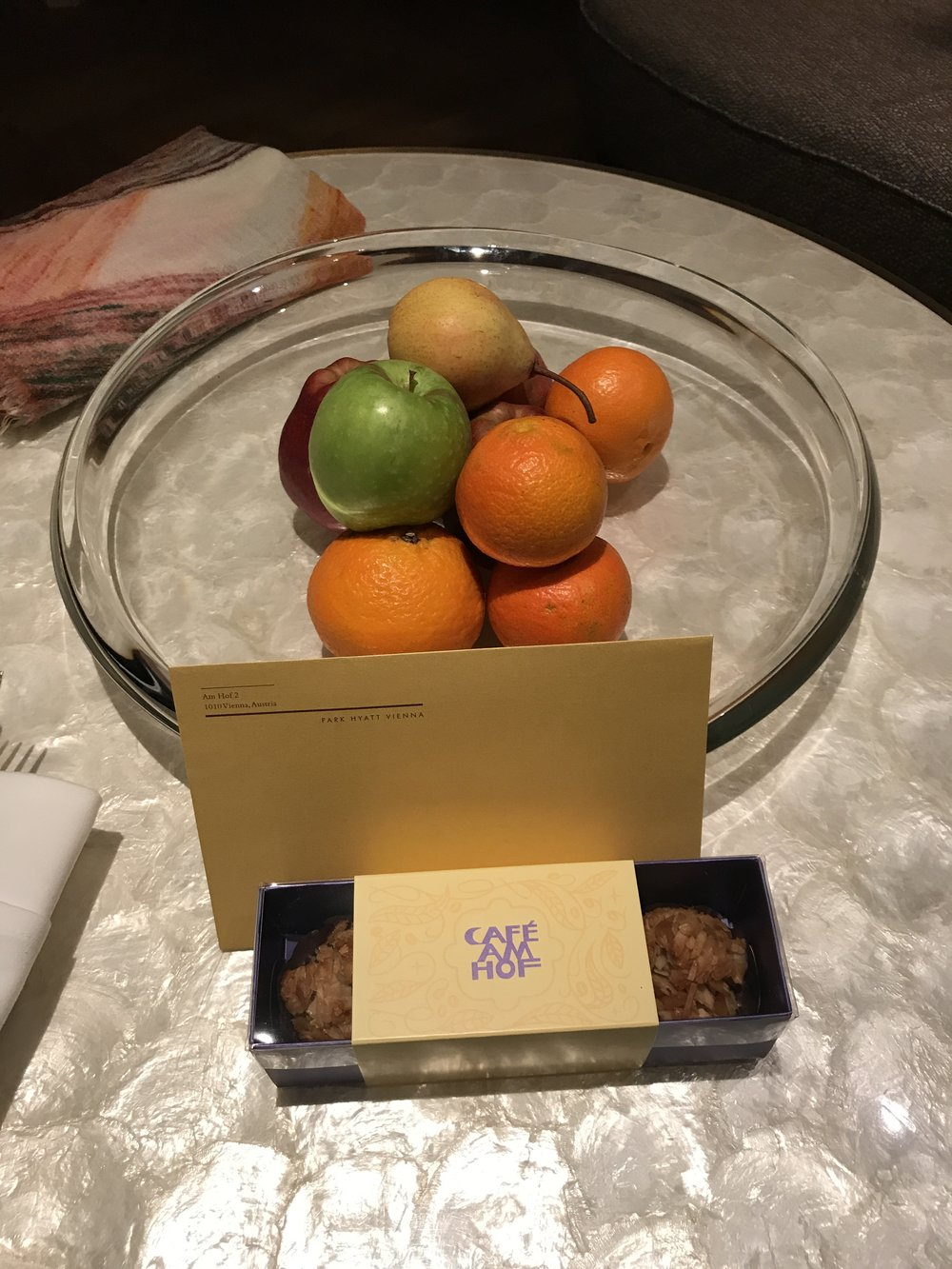 The welcome amenity consisted of fresh fruit and some items from the hotel's bakery.