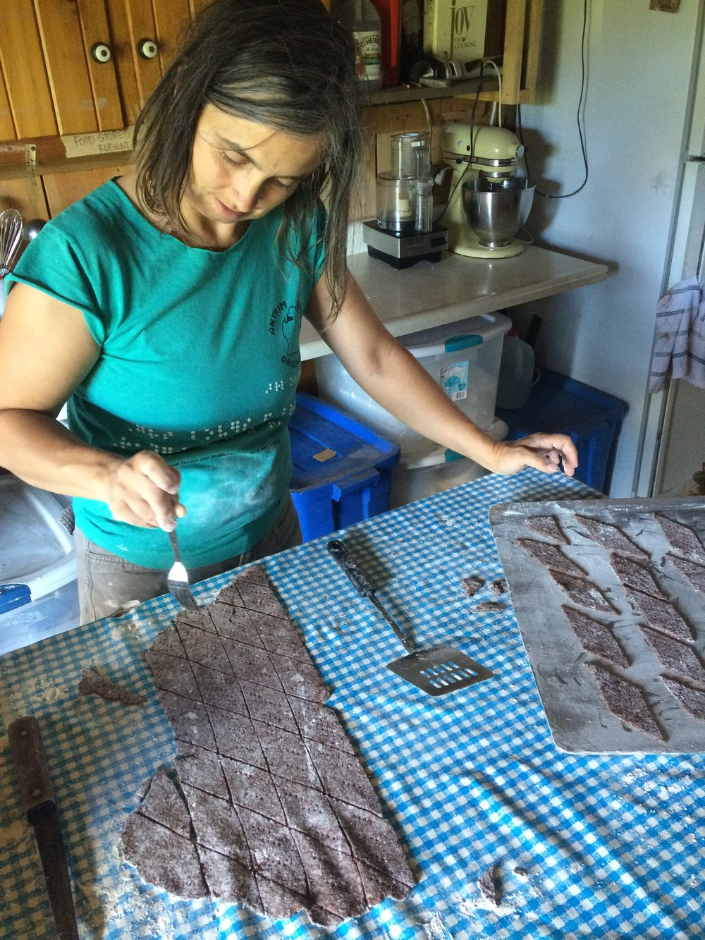 Making curly dock seed crackers